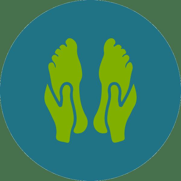 Icona piedi massaggio malato sla